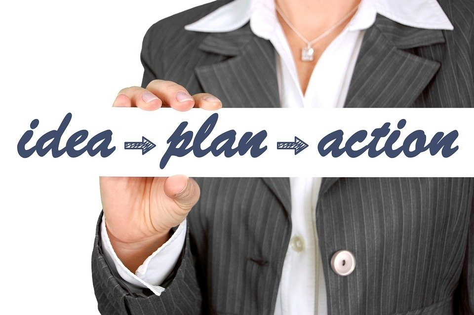 "template with the words ""idea"", ""plan"", and ""action"", representing the different components of a business plan"
